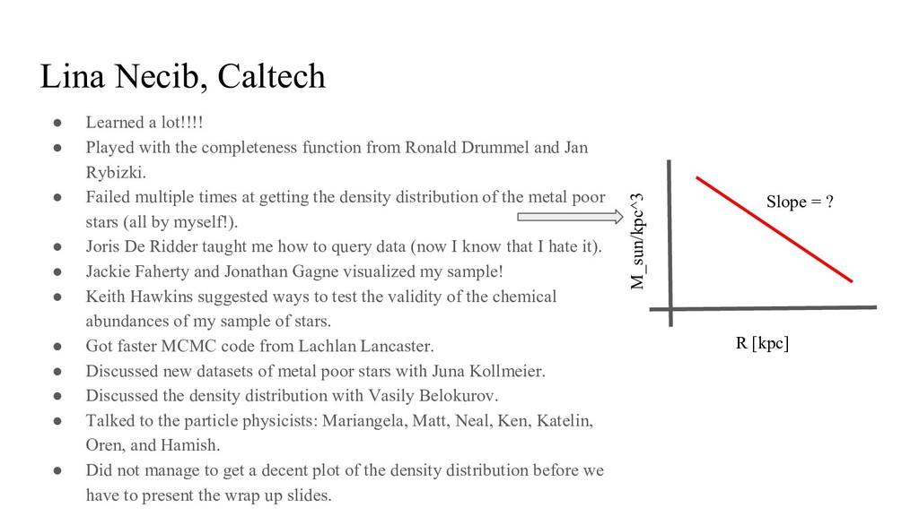 Lina Necib, Caltech ● Learned a lot!!!! ● Playe...