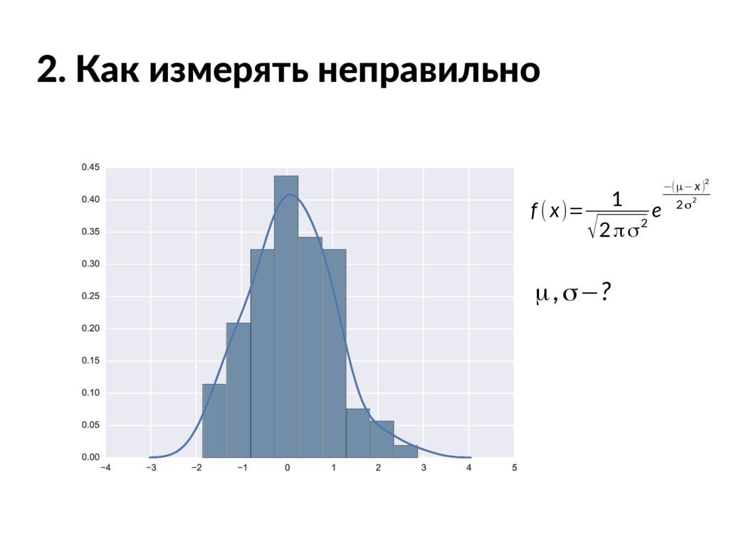 2. Как измерять неправильно f (x)= 1 √2πσ2 e −(...