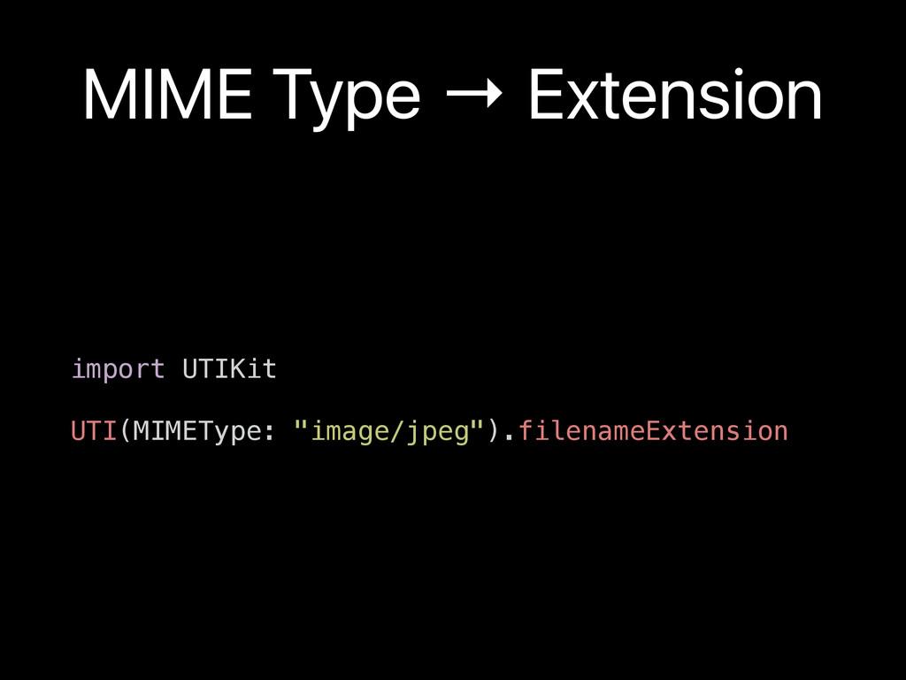 MIME Type → Extension import UTIKit UTI(MIMETyp...