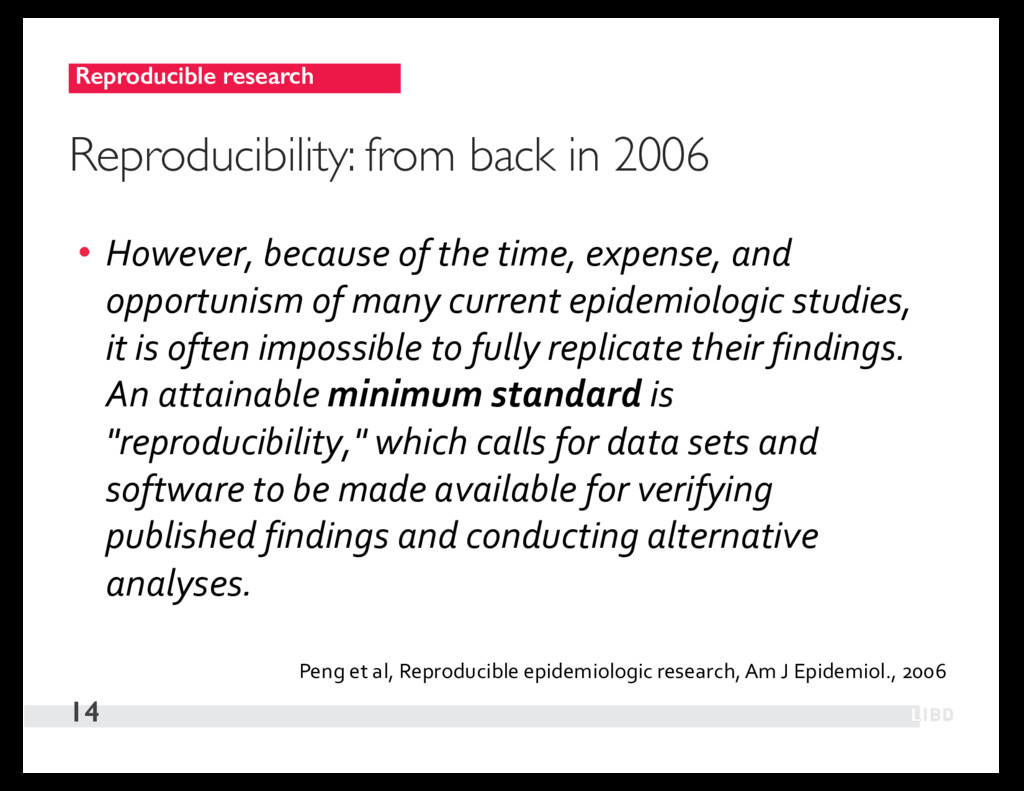 Reproducible research 14 Reproducibility: from ...