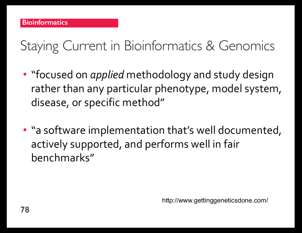 Bioinformatics 78 Staying Current in Bioinforma...