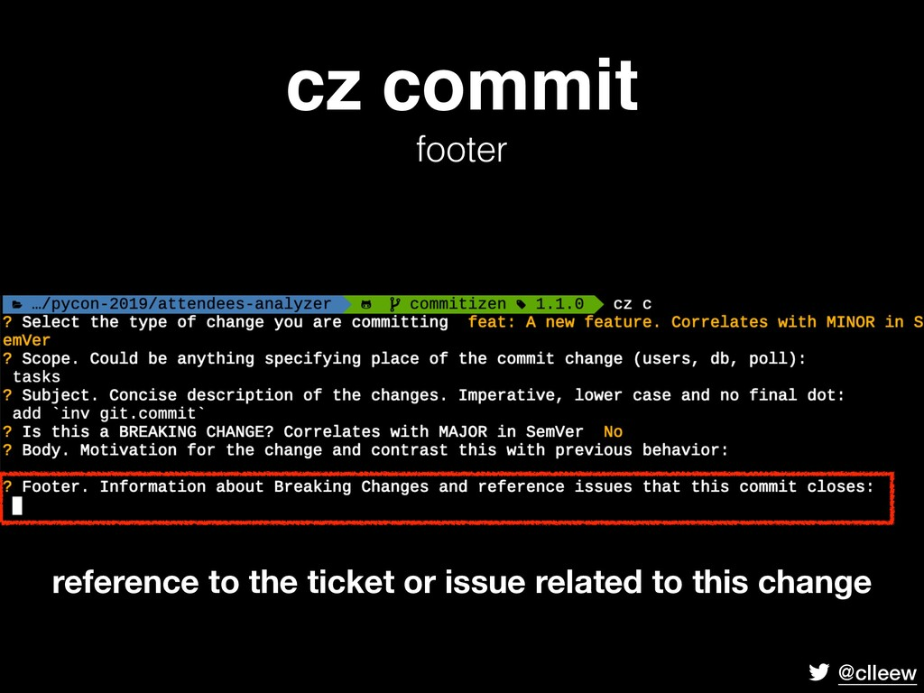 @clleew cz commit footer reference to the tick...