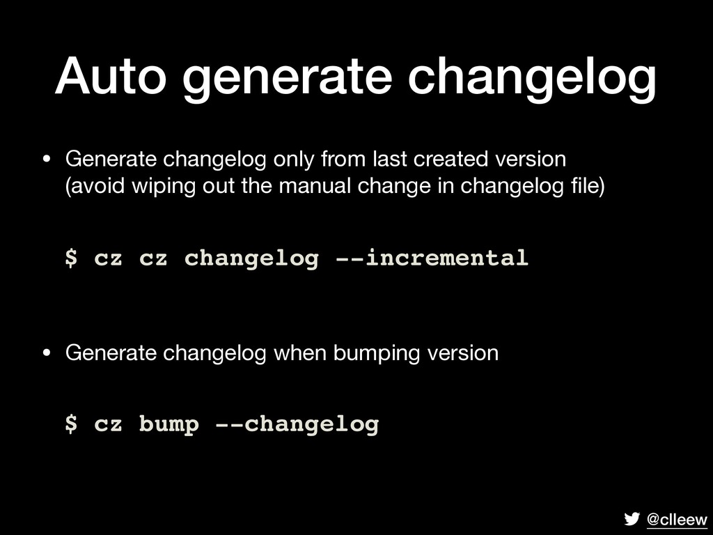 @clleew Auto generate changelog • Generate chan...