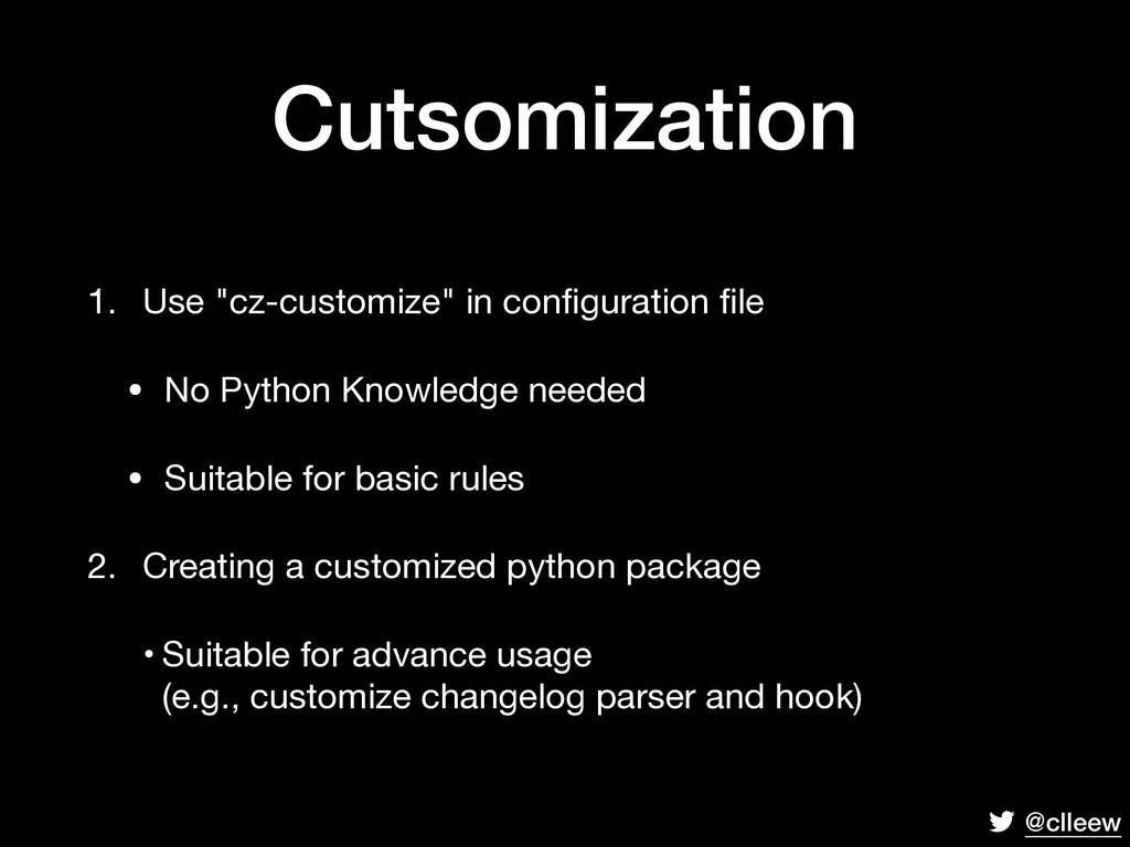 "@clleew Cutsomization 1. Use ""cz-customize"" in ..."