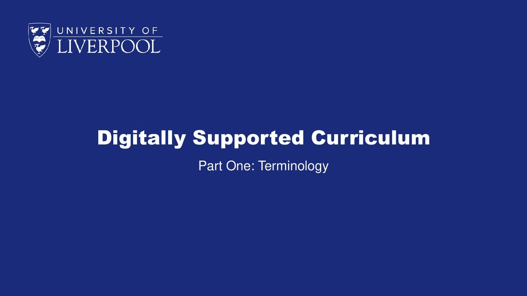 Digitally Supported Curriculum Part One: Termin...