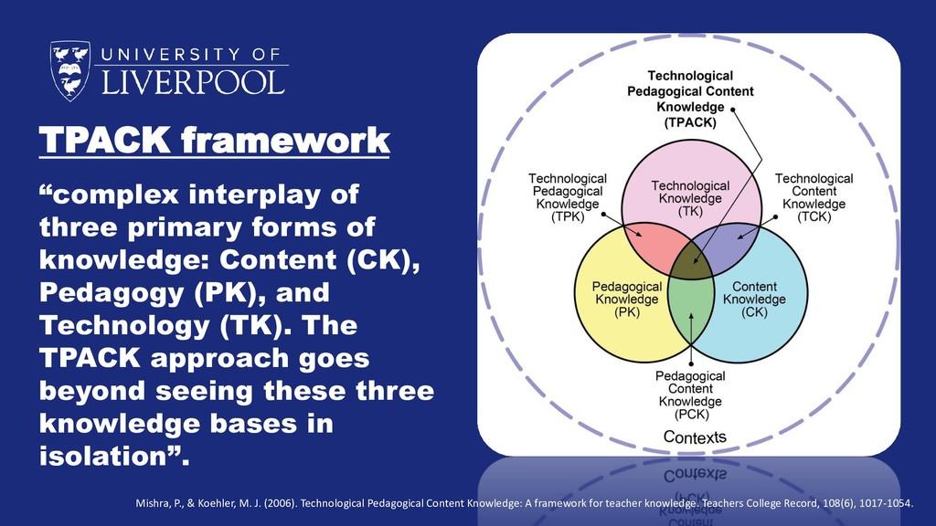 "TPACK framework ""complex interplay of three pri..."