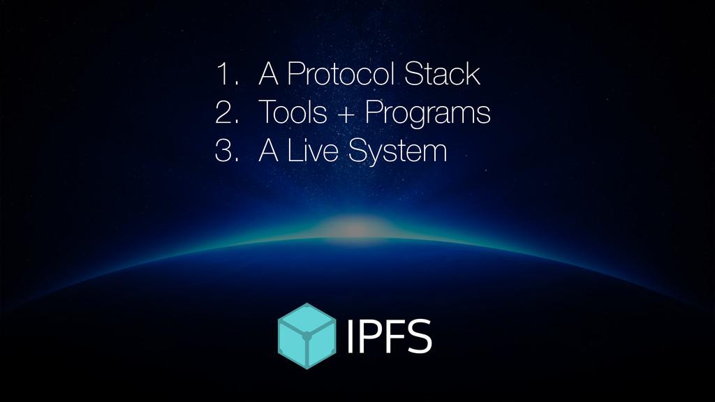 1. A Protocol Stack 2. Tools + Programs 3. A Li...