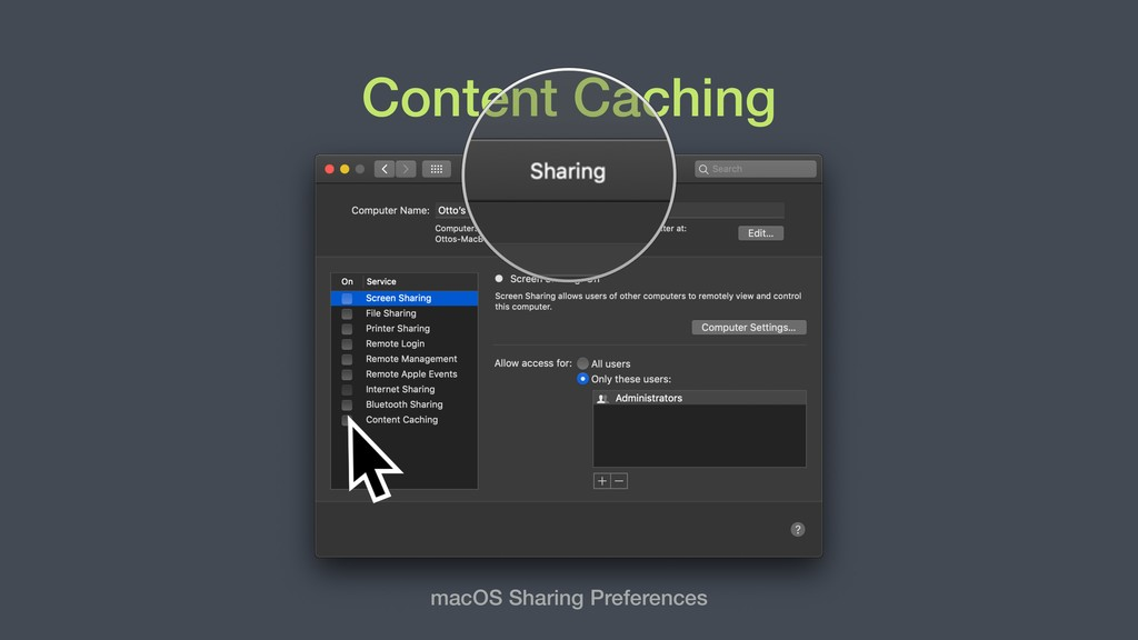 Content Caching macOS Sharing Preferences