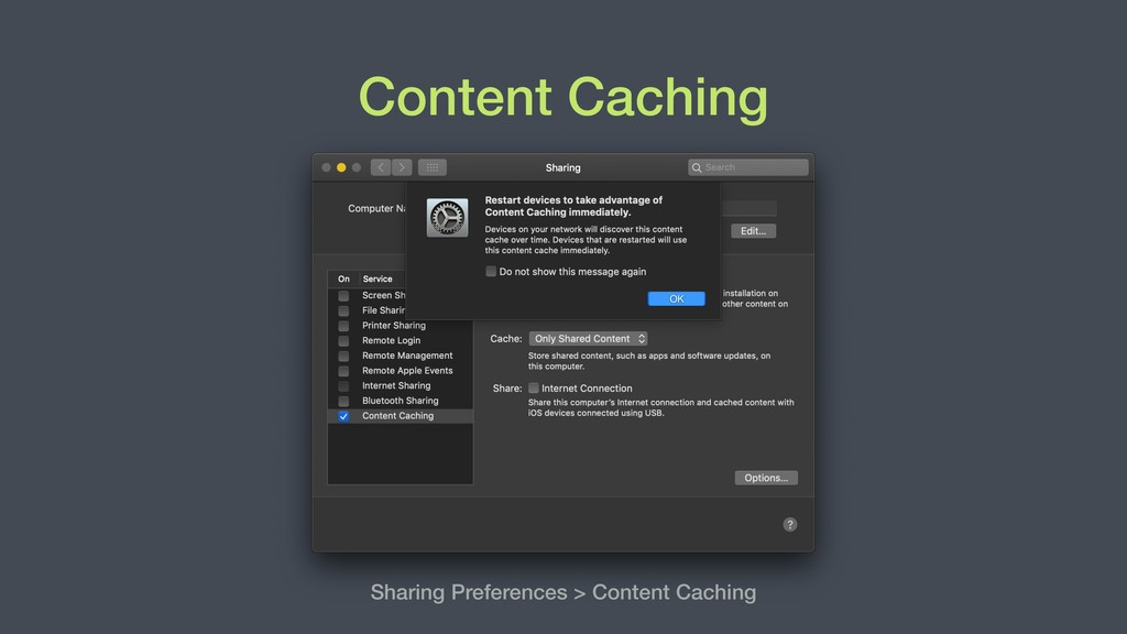 Content Caching Sharing Preferences > Content C...