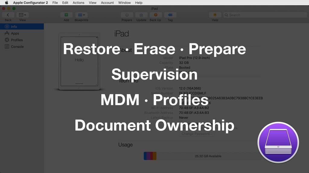 Restore · Erase · Prepare Supervision MDM · Pro...