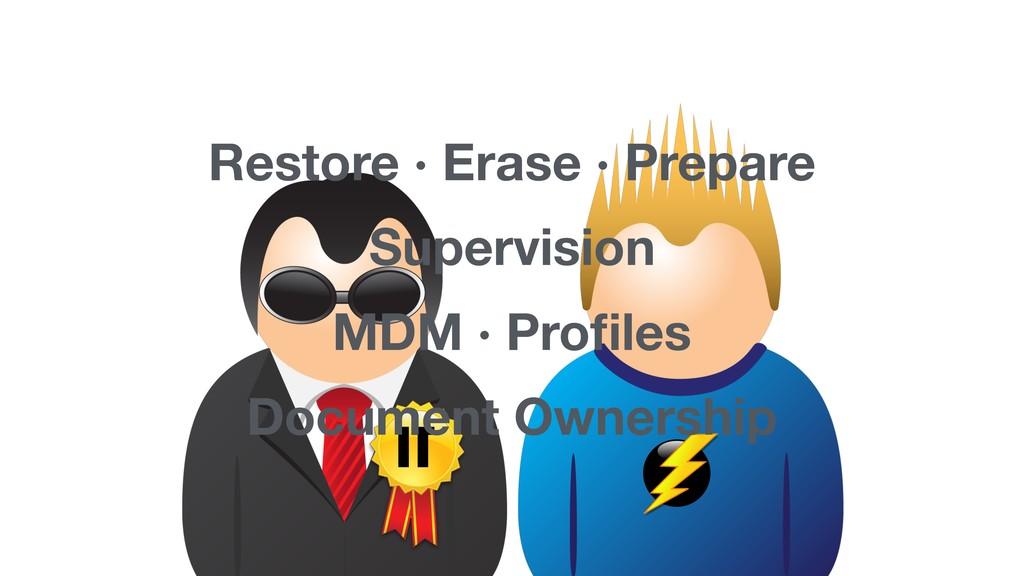 IT Restore · Erase · Prepare Supervision MDM · ...