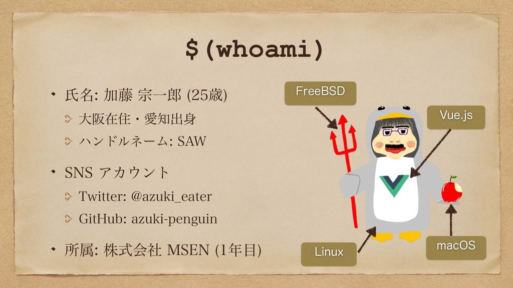 $(whoami) ࢯ໊Ճ౻फҰ ࡀ  େࡕࡏॅɾѪग़ ϋϯυϧωʔϜ...
