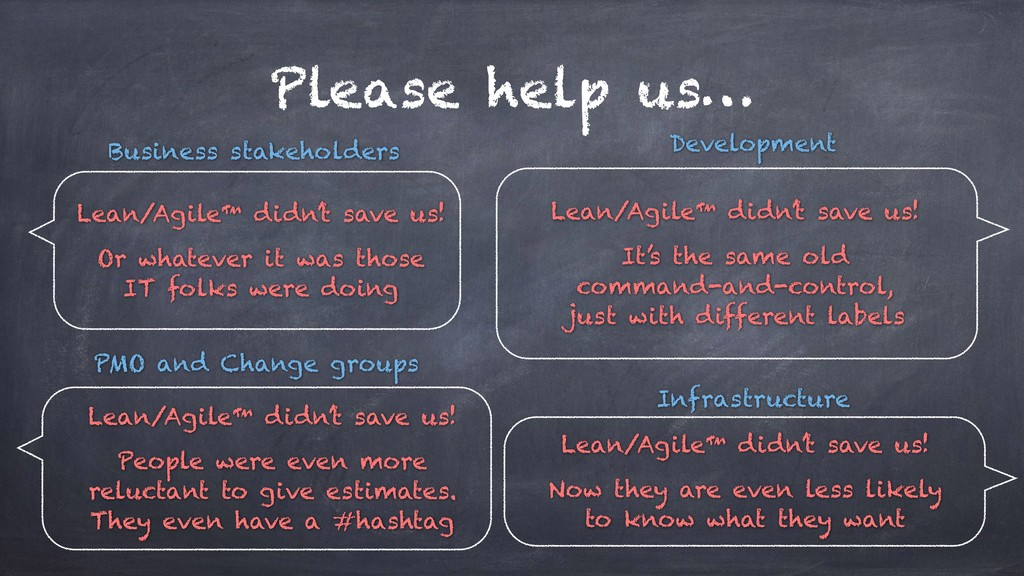 Please help us… Lean/Agile™ didn't save us! Or ...