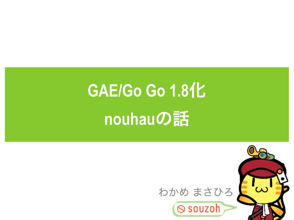 GAE/Go Go 1.8Խ nouhauͷ Θ͔Ί ·͞ͻΖ