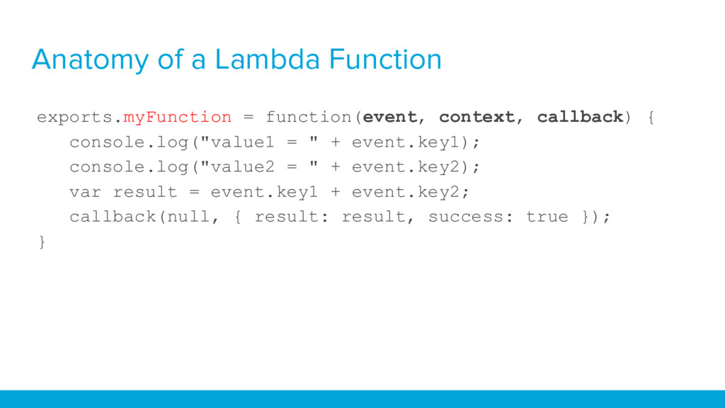 Anatomy of a Lambda Function exports.myFunction...