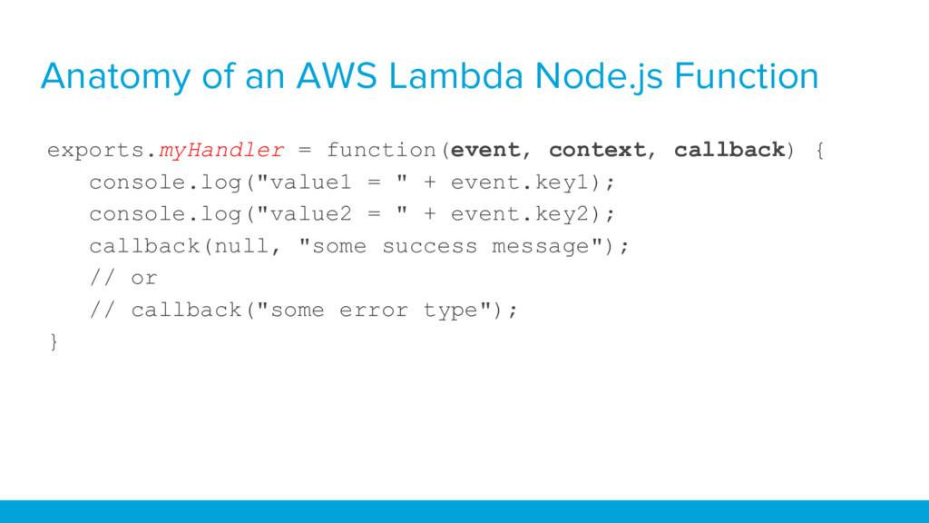 Anatomy of an AWS Lambda Node.js Function expor...