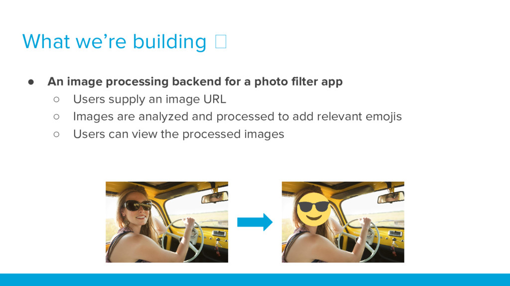What we're building ● An image processing backe...