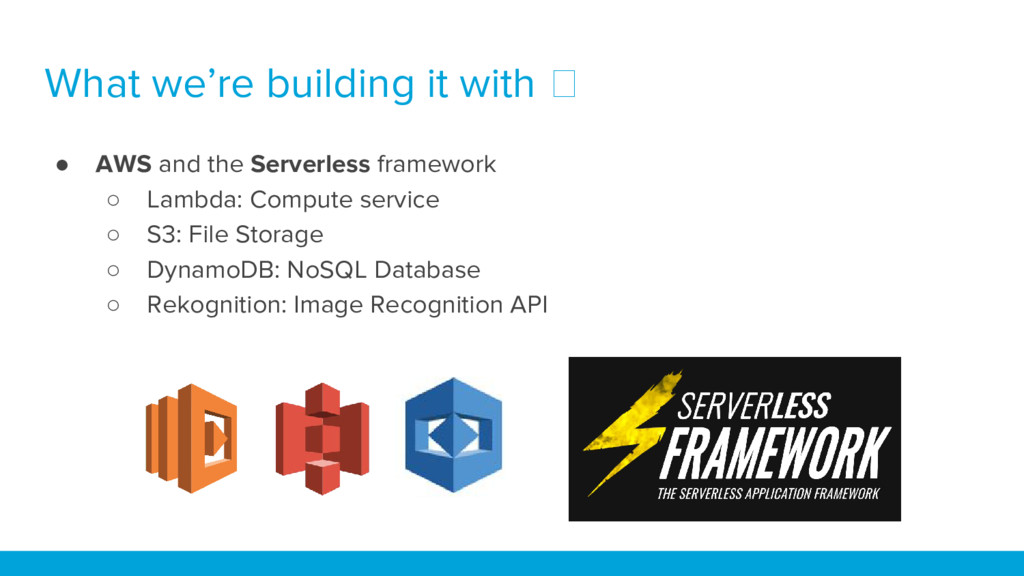 What we're building it with ● AWS and the Serve...