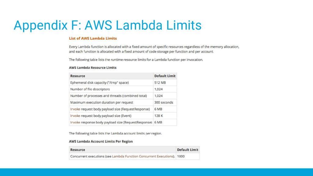 Appendix F: AWS Lambda Limits
