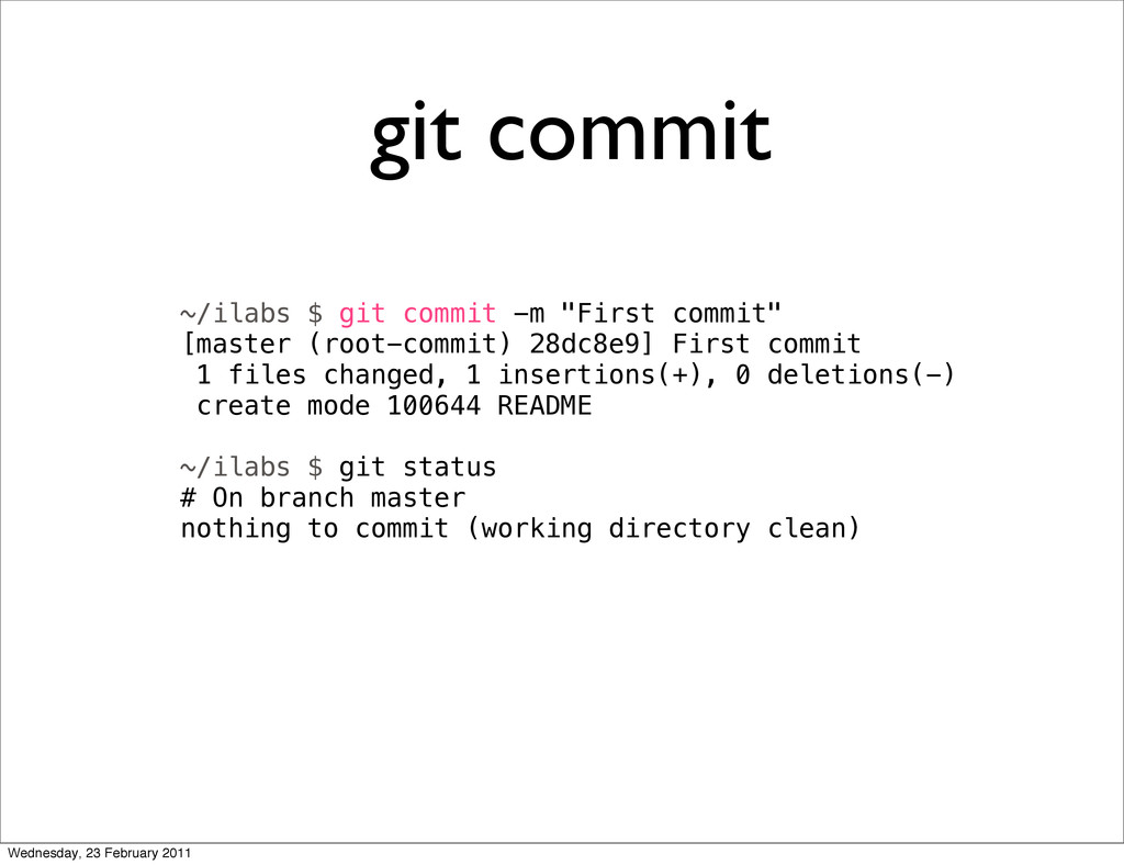 "git commit ~/ilabs $ git commit -m ""First commi..."