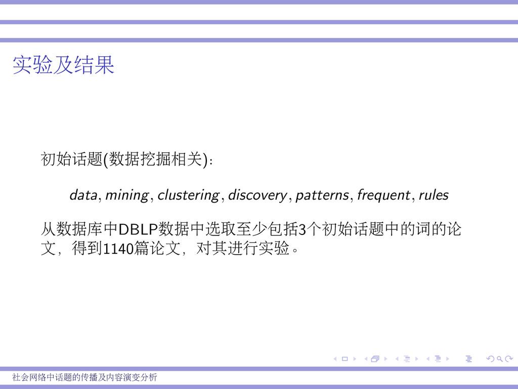 实验及结果 初始话题(数据挖掘相关): data, mining, clustering, d...