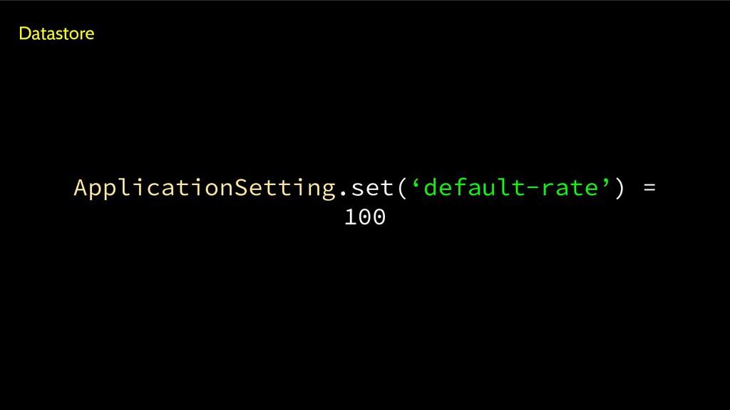 ApplicationSetting.set('default-rate') = 100 Da...