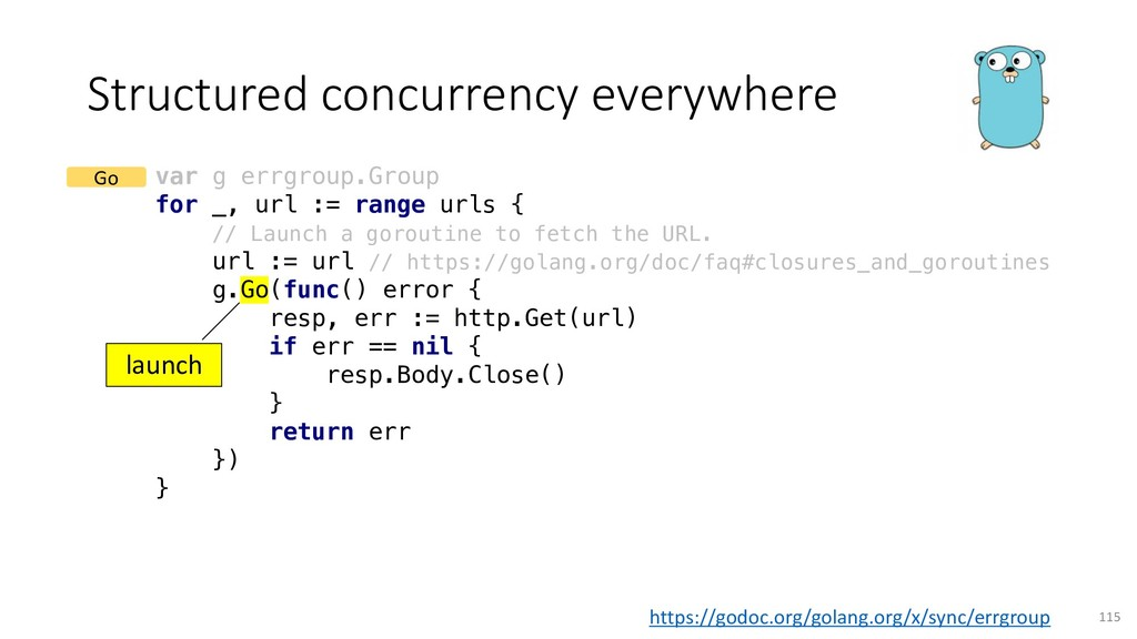 Structured concurrency everywhere 115 var g err...