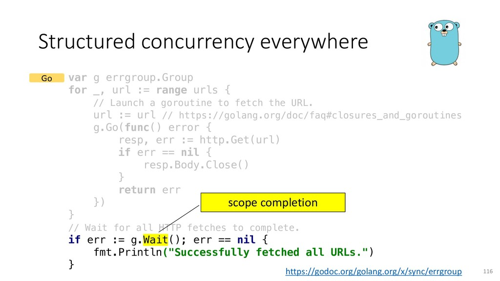 Structured concurrency everywhere 116 var g err...