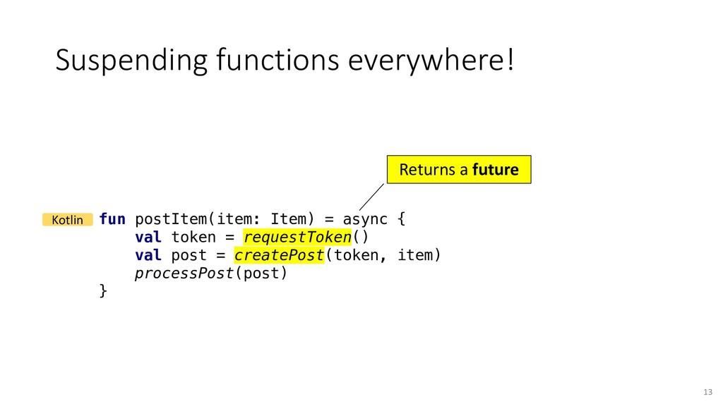 Suspending functions everywhere! fun postItem(i...