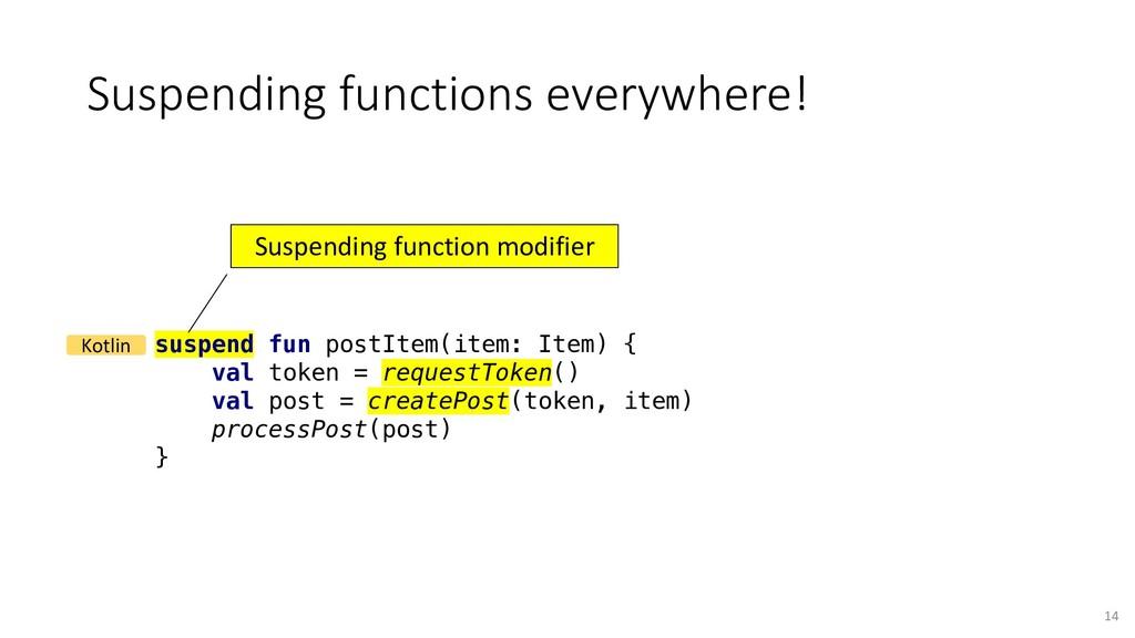 Suspending functions everywhere! suspend fun po...