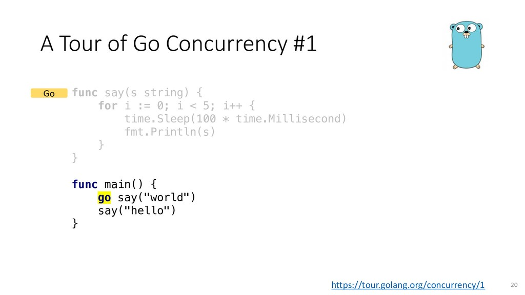 A Tour of Go Concurrency #1 func say(s string) ...