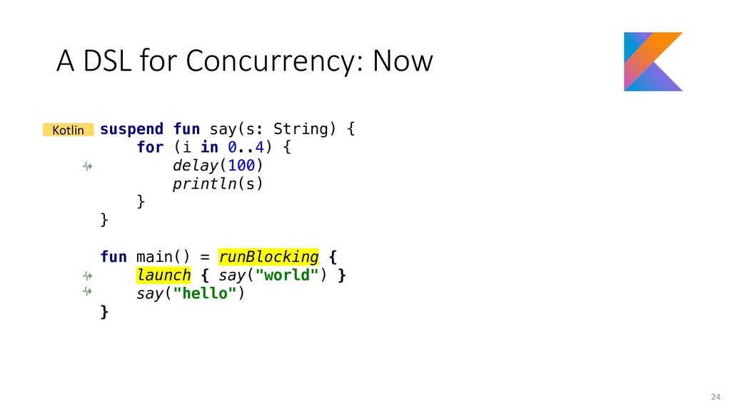 A DSL for Concurrency: Now suspend fun say(s: S...