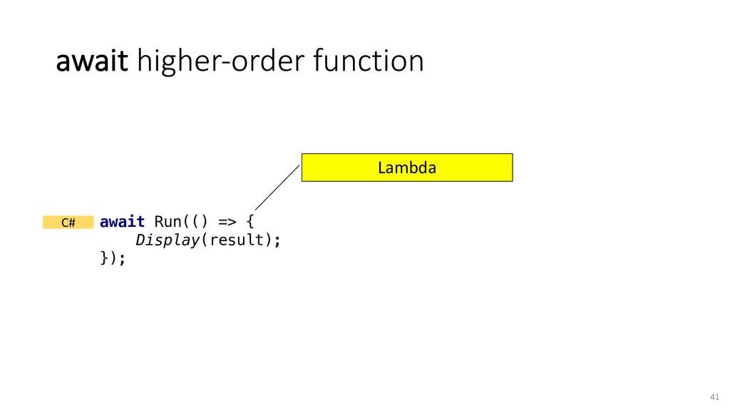 await higher-order function 41 await Run(() => ...