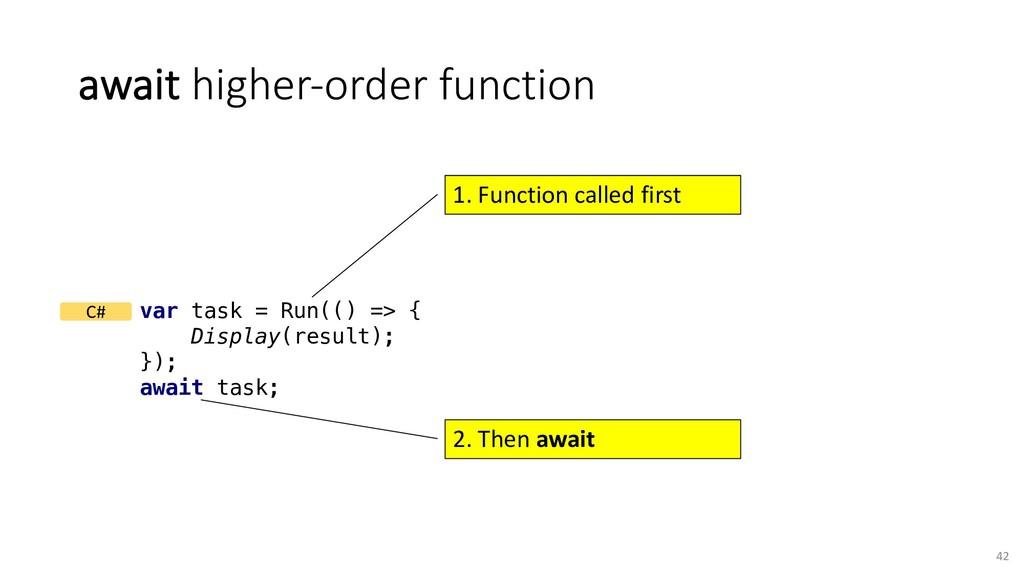 await higher-order function 42 var task = Run((...