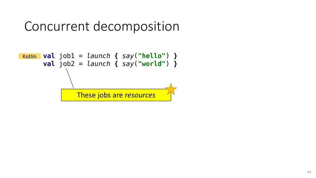 Concurrent decomposition 61 val job1 = launch {...