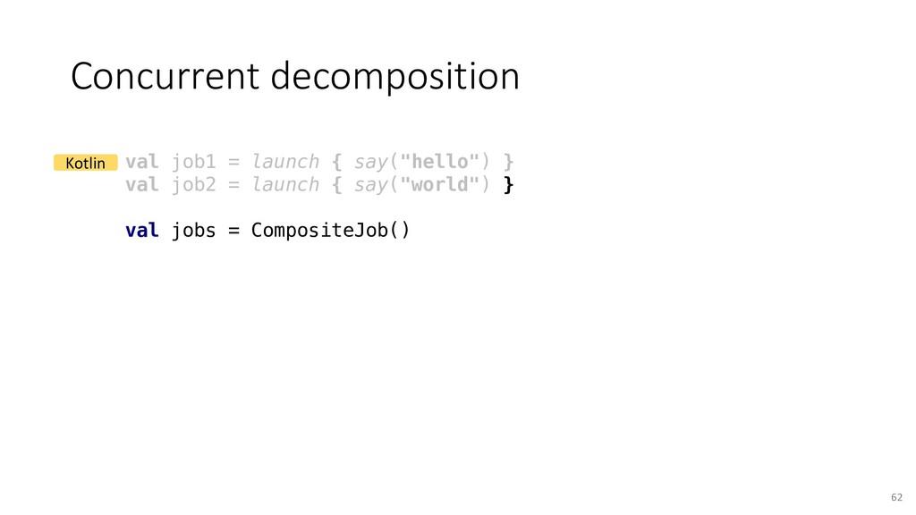 Concurrent decomposition 62 val job1 = launch {...