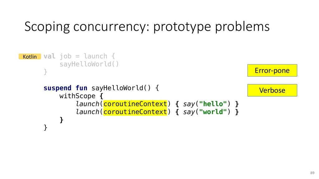 Scoping concurrency: prototype problems 89 val ...