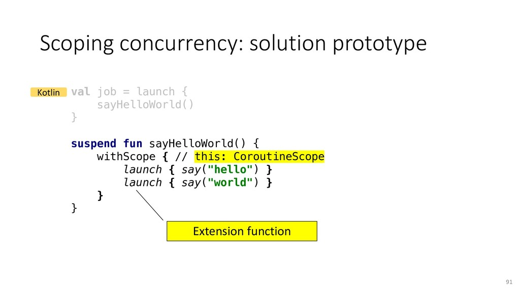 Scoping concurrency: solution prototype 91 val ...