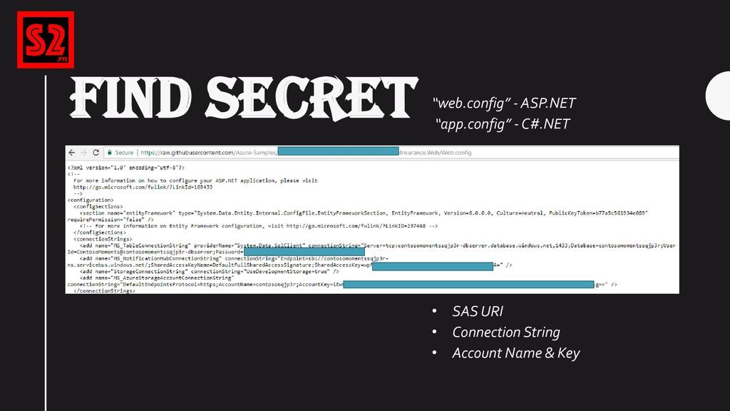"FIND SECRET ""web.config"" - ASP.NET ""app.config""..."