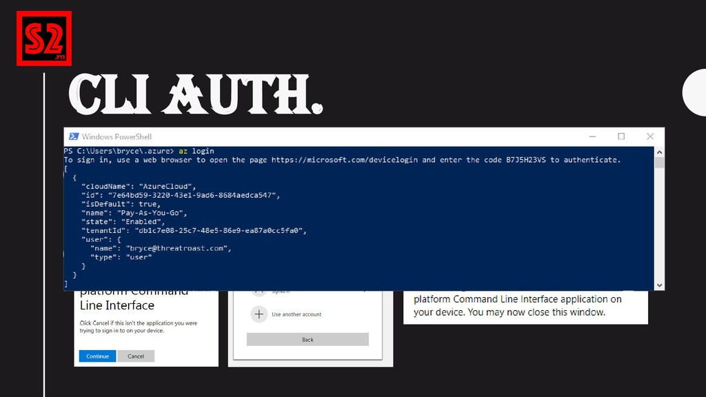 """CLI AUTH. """"az login"""" (After logging in, your lo..."""