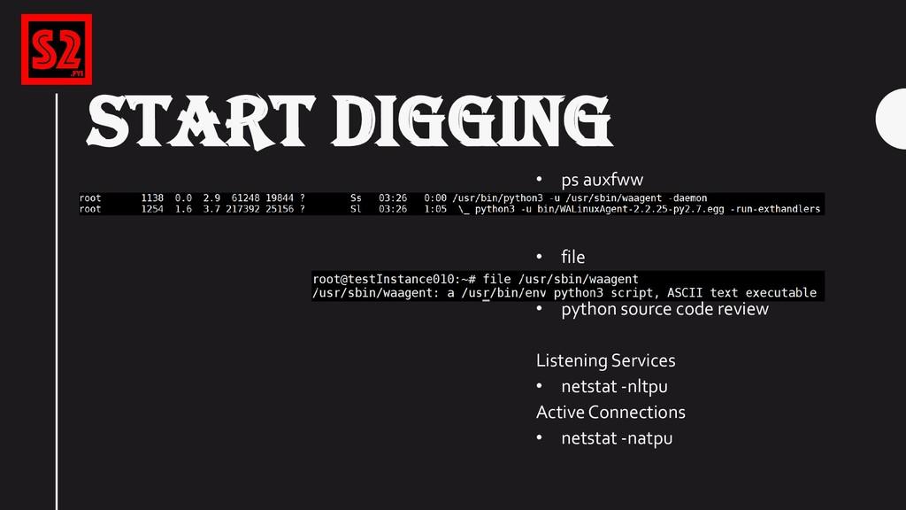 START DIGGING • ps auxfww • file • python sourc...
