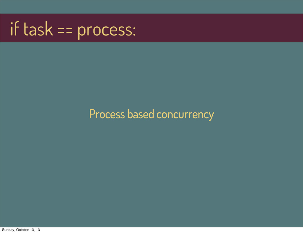 Process based concurrency if task == process: S...
