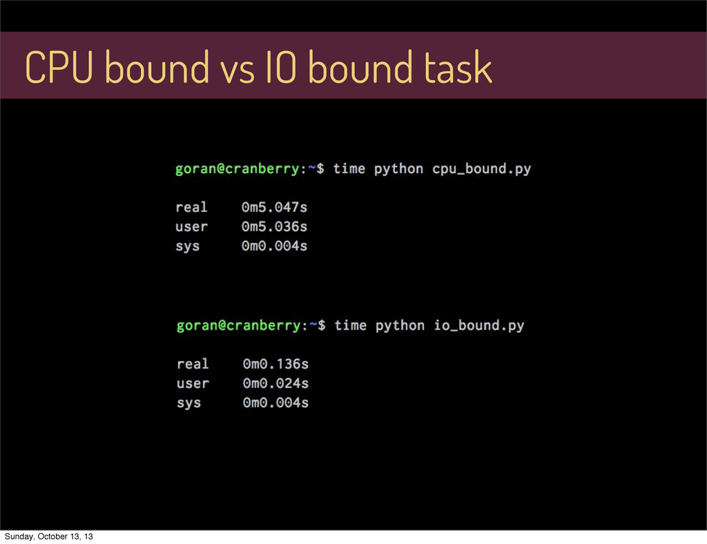CPU bound vs IO bound task Sunday, October 13, ...