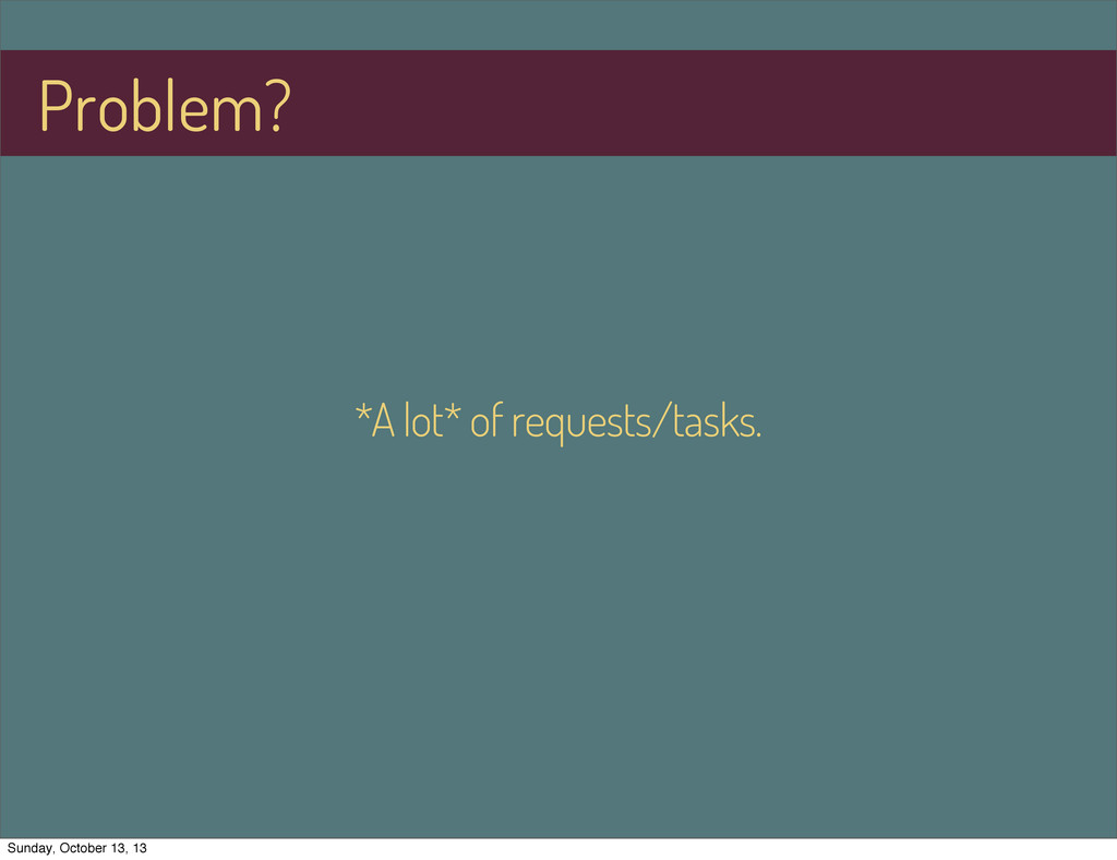 *A lot* of requests/tasks. Problem? Sunday, Oct...