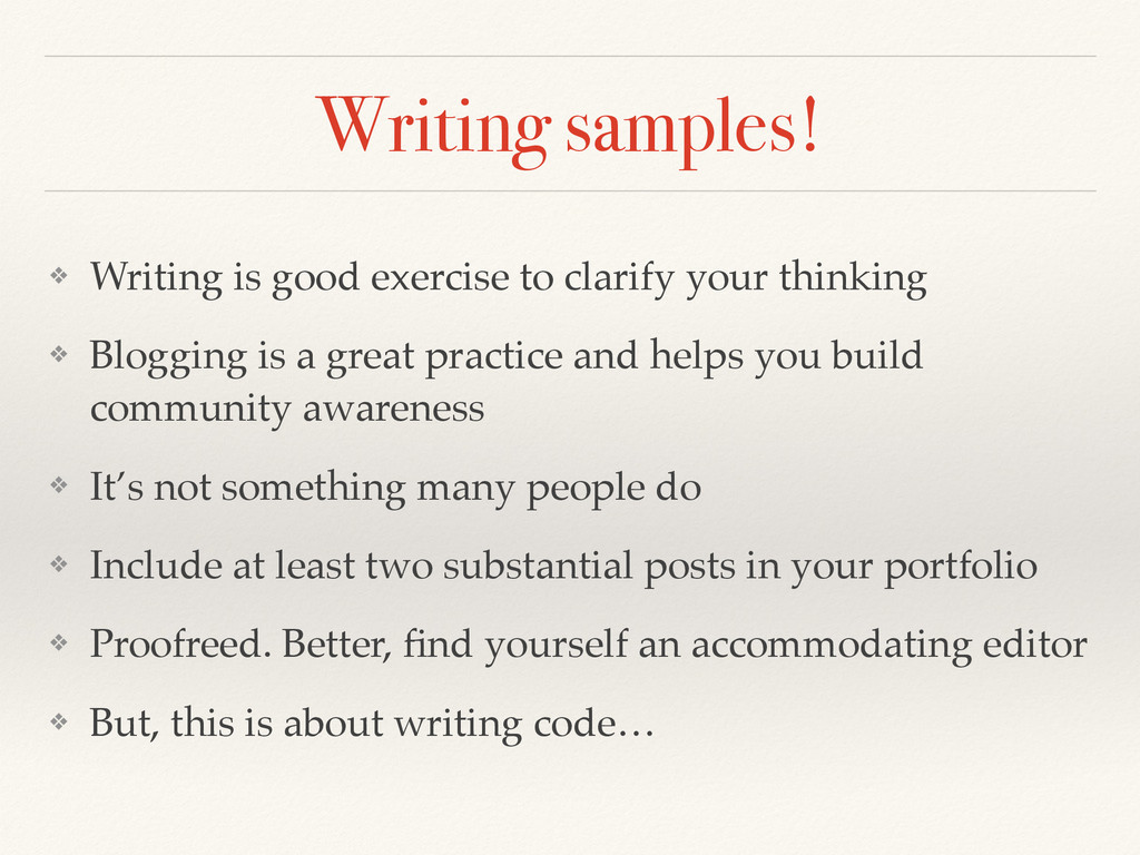 Writing samples! ❖ Writing is good exercise to ...