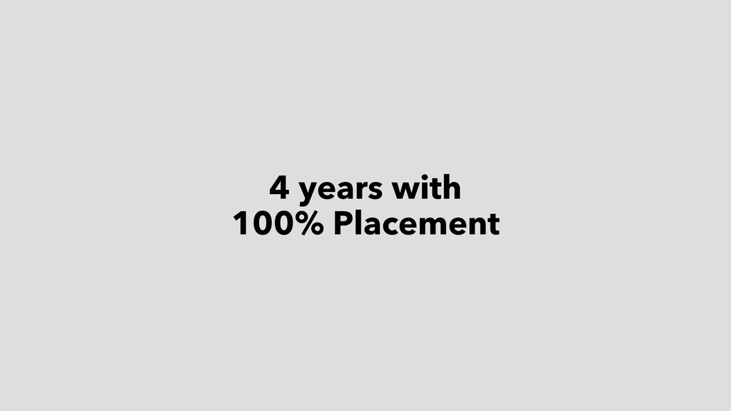 4 years with 100% Placement