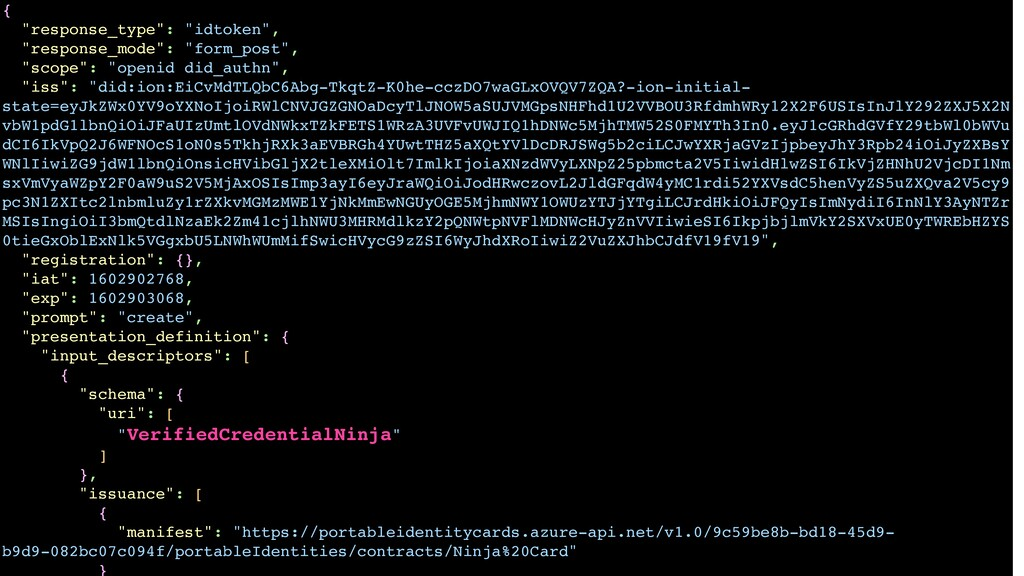 "{ ""response_type"": ""idtoken"", ""response_mode"": ..."