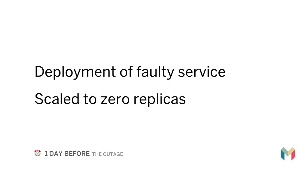 Deployment of faulty service Scaled to zero rep...