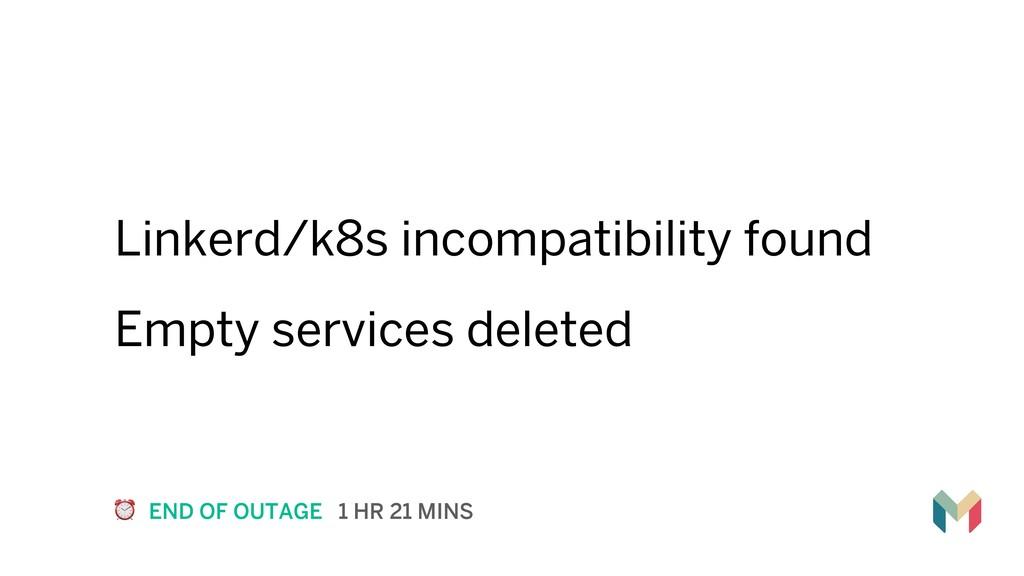 Linkerd/k8s incompatibility found Empty service...