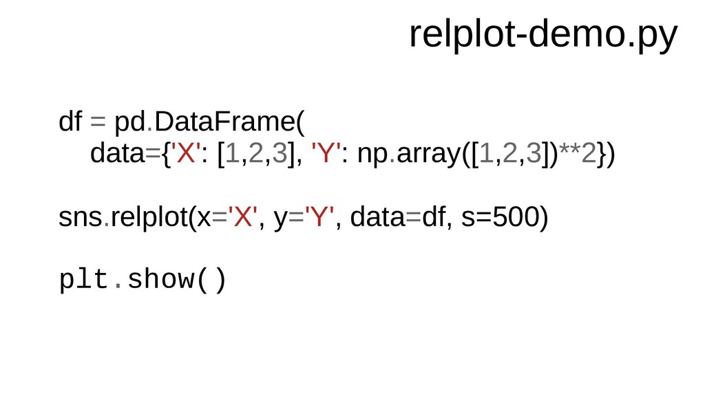 relplot-demo.py df = pd.DataFrame( data={'X': [...